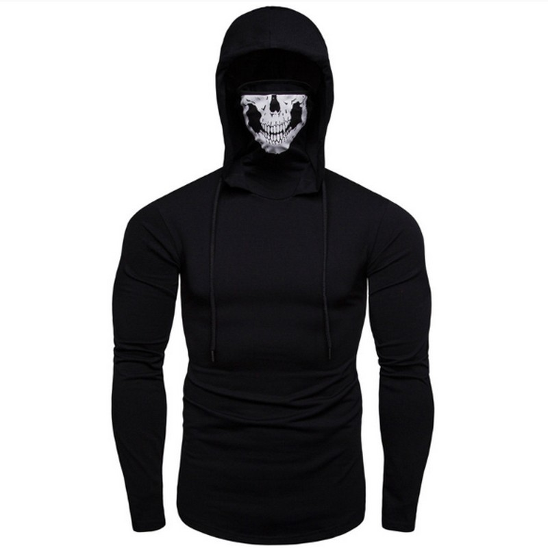 Fashion Men 39 s Hoodies Long Sleeve Casual Hooded Sweatshirt Stretch Fitness Male Ninja Suit Ghost Mask Tops in Hoodies amp Sweatshirts from Men 39 s Clothing