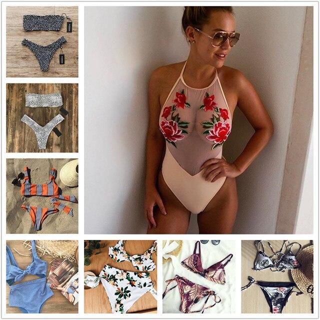One piece swimsuit wear bikini Sexy Off Shoulder Bodysuit Lacework Vintage Printing swimwear women one piece Bikinis NK49