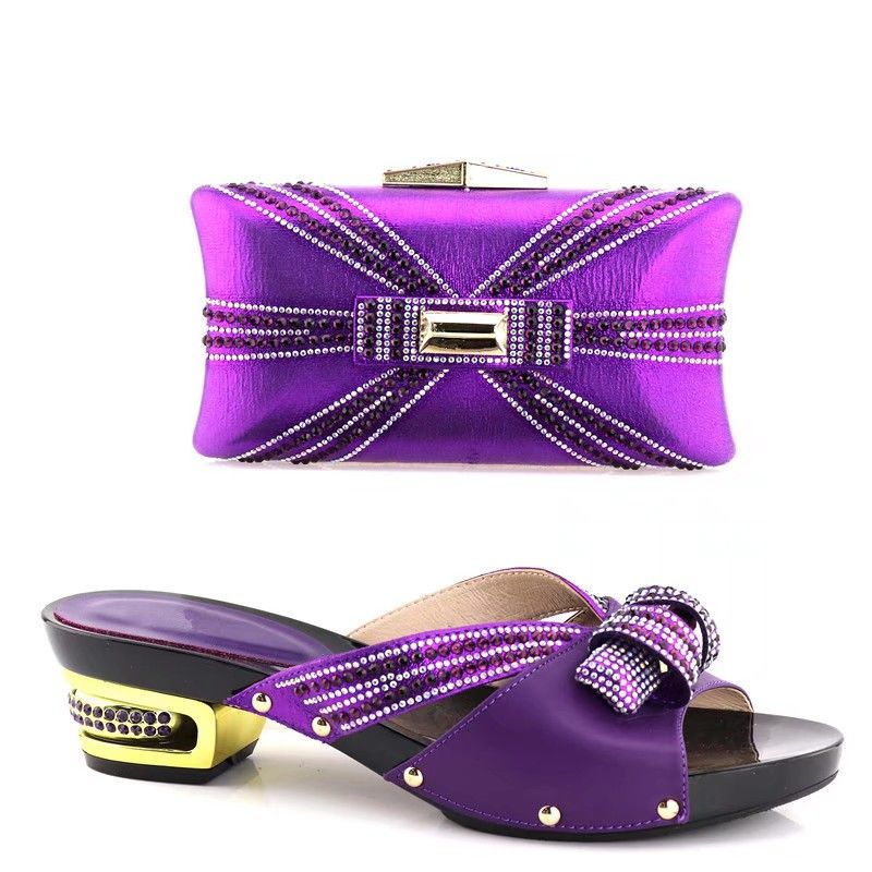 High quality purple women shoes match handbag set with rhinestone decoration african pumps and bag for dress YH2018,heel 5.3CMHigh quality purple women shoes match handbag set with rhinestone decoration african pumps and bag for dress YH2018,heel 5.3CM