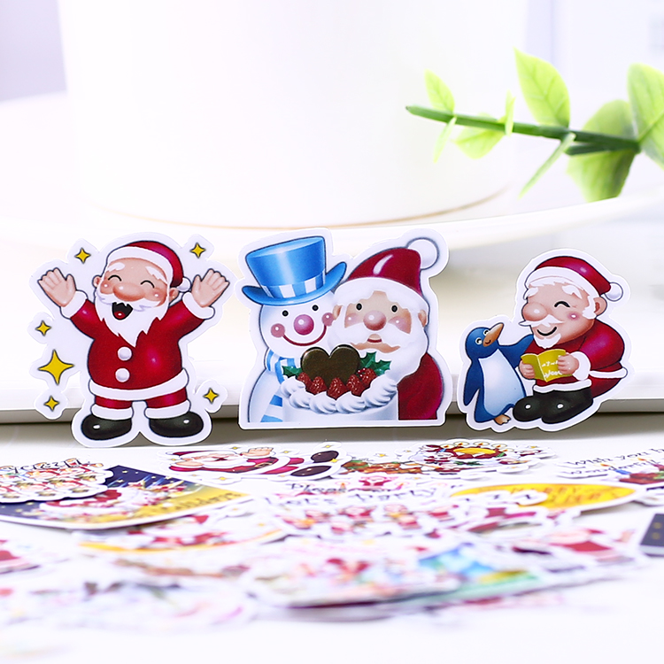 40pcs creative cute self-made Christmas Santa Claus scrapbooking stickers /decorative sticker /DIY craft photo albums 50 pcs bag santa claus christmas stickers paper sticker decoration diy scrapbooking sticker children s favorite stationery
