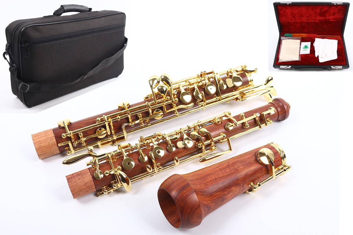 Professional Oboe C Key Left F Resonance Rosewood Body Golden Plated Key Professional Oboe Case 04