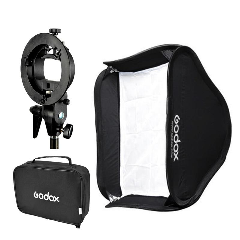 Godox 40*40 cm/50*50 cm/60*60 cm/80*80 cm Flash Softbox + support de Type S Bowens S support de montage adaptateur Speedlite-in Accessoires pour studio photo from Electronique    1