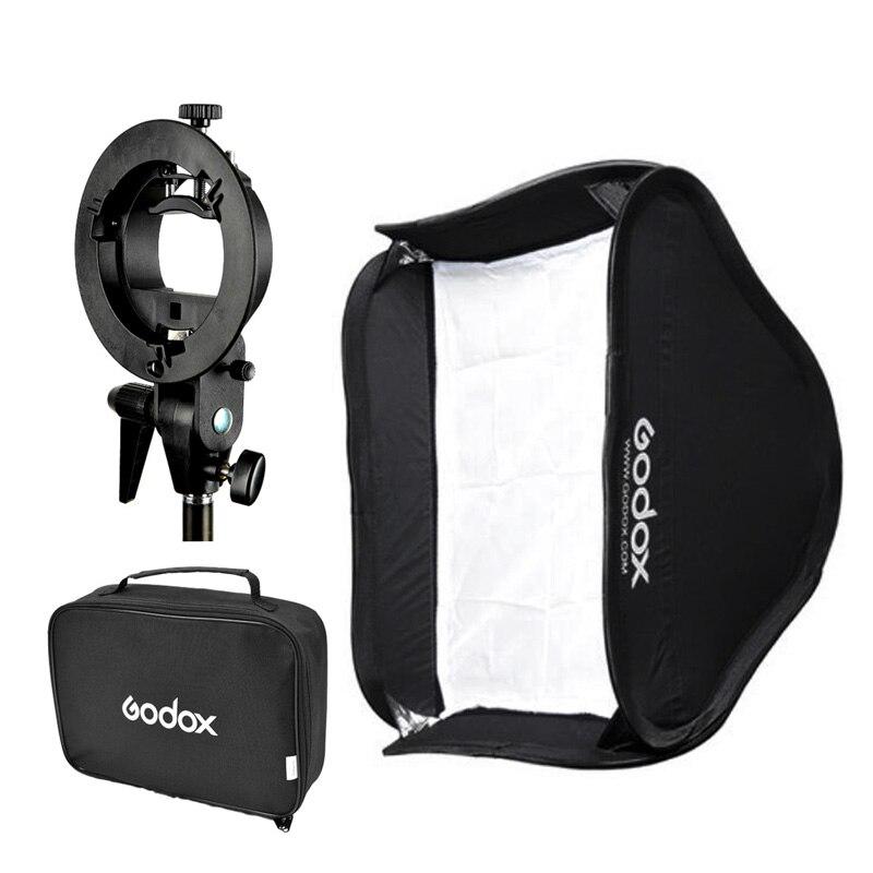 Godox 40*40 cm/50*50 cm/60*60 cm/80*80 cm flash Softbox + S wspornik typu Bowens S uchwyt do montażu lampy błyskowej Speedlite Adapter w Akcesoria do studia fotograficznego od Elektronika użytkowa na  Grupa 1
