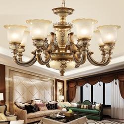 Luksusowy żyrandol duży europejski żyrandole do salonu sypialni oświetlenie led oprawa w stylu Vintage żywica wiszące lampy żyrandole ze szkła|Żyrandole|   -