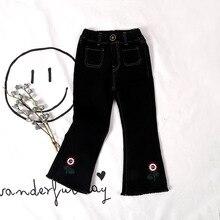 2017 г., весна-осень новые джинсы для девочек кисточкой цветок Вышивка Pussy дети девушка ковбой для 2-7Age детские штаны Одежда для девочек