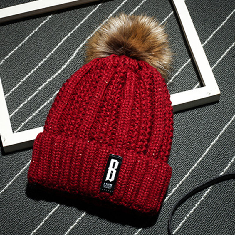 brand new fur popom ball cap pom poms winter Wool cap hat for women girl 's hat knitted beanies cap thick female cap ski Outdoor 2017 new fur ball cap pom poms keep warm winter hat for women girl s hat knitted beanies letter brand new thick female capm 003