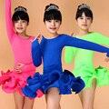 Girls Long Sleeves Latin Dance Dress Children Fancy Dress Kids Plus Size Ballroom Dance Wear Salsa Tango Rumba Cha Cha Costume
