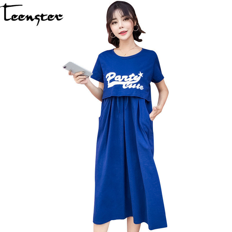 Teenster Maternity Dresses Pregnancy Clothes Letter Printed ...