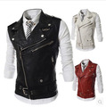 2015 New Fashion PU Leather Sleeveless Jacket Men'S Slim Fit  Leather Motorcycle Vest Punk Style Three Colors Free Shipping Q431
