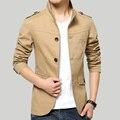 Весной и Летом мужские Куртки Твердые Хлопок Повседневная Пальто Мужчины Армия Хаки Куртки Плюс Размер М-5XL