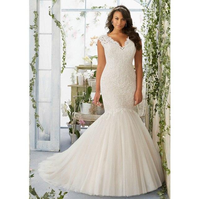 Mermaid Plus Size Wedding Dress Rm3192 Elegant Lace Liques V Neck Sleeveless Bridal Gowns