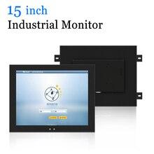 15 polegada de metal escudo industrial usb tela toque parede do computador pendurado monitor com saída tv vga hdmi dvi av