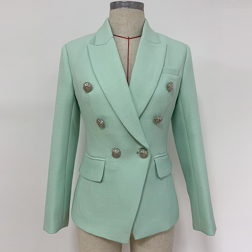 HIGH QUALITY New Fashion 2020 Designer Blazer Women's Classic Lion Buttons Double Breasted Blazer Jacket Mint Green
