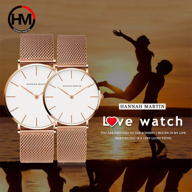 Men Women Couple Watch Luxury Brand Rose Gold Steel Mesh Wrist Watches Ultra Thin Male Female Watch Relogios Feminino Clock Xfcs
