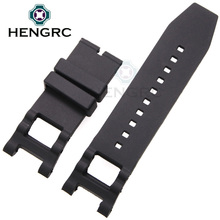 HENGRC 28mm Rubber Watch Band Strap diving Sport Black silicone watchbands Without buckle Watch Accessories