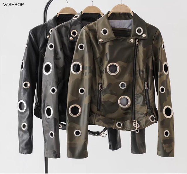 8685e84ea7a 2017 Woman Fashion Camouflage Print Faux Leather Jacket with Big Metal  Eyelets Holes Lapel Collar Hem