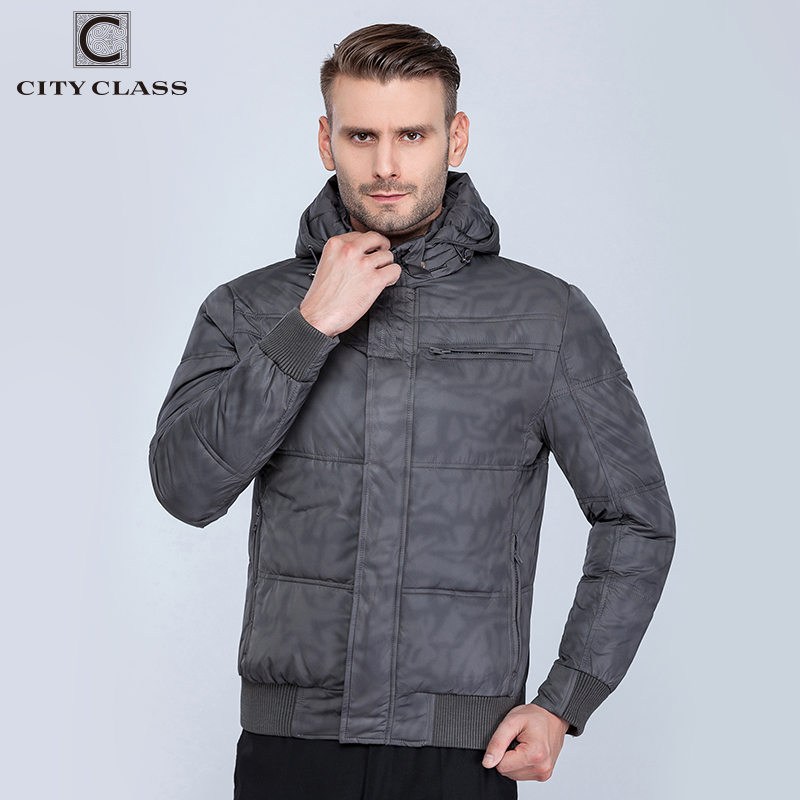 CITY CLASS New Mens Winter Jackets Fashion Leisure Hat Short Cotton-Padded Isoft Warm Winter Sports Jacket Free Shipping 603