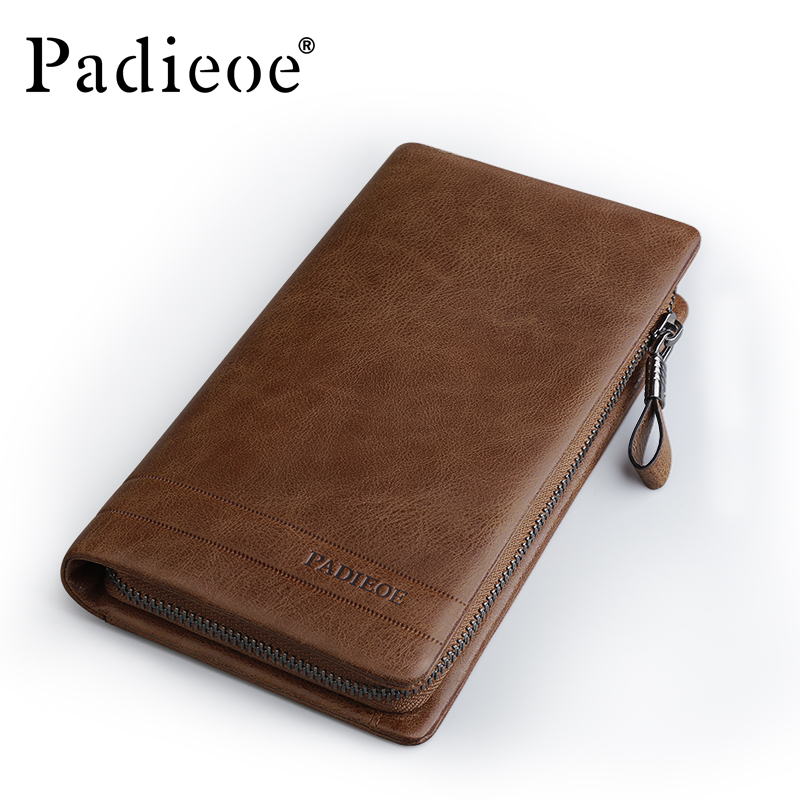 купить Padieoe Vintage Genuine Leather Men Wallets Zipper Long Male Clutch Wallet Designer Brand Purse по цене 5426.2 рублей