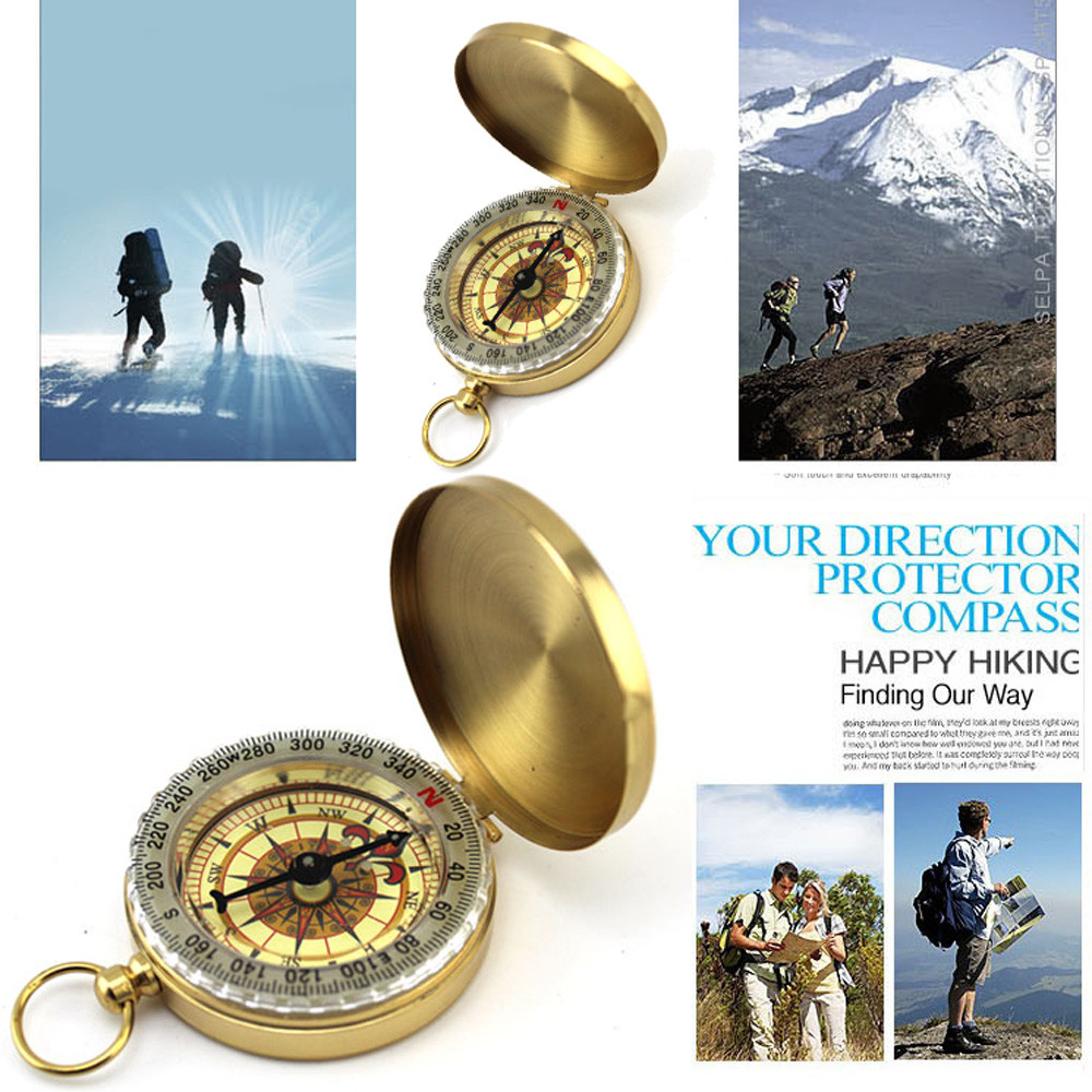 Pocket Brass Watch Style Outdoor Camping Hiking Navigation Compass Ring Keychain climbing equipment pusula #25