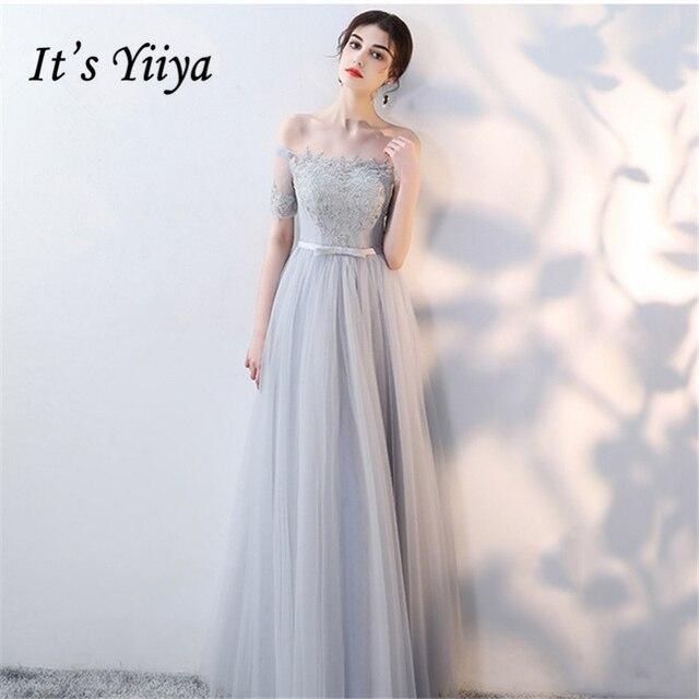 It's YiiYa Bridesmaids Dresses Boat Neck Short Sleeve Formal Dress Bow Beautiful Lace Up Illusion Lady Fashion Designer LX1001