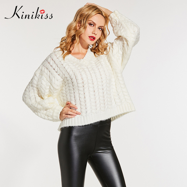 kinikiss 2018 women winter knitted sweater white christmas sweater green long lantern sleeve pullover fashion elegant