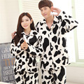 Couple Pajama Sets for Women Men Cartoon Winter Warm Sleepwear Lovers Fleece Cow Pajamas Thick Flannel Homewear Sleep Set Pyjama