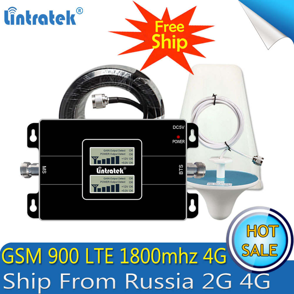 Lintratek Russia GSM 900 4G LTE 1800 Repeater GSM 1800mhz Mobile Signal Booster 65dB Dual Band Repetidor Celular 3G 4G Antenna