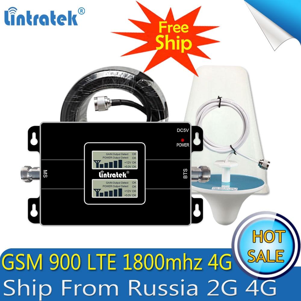 Lintratek Russland GSM 900 4G LTE 1800 Repeater GSM 1800 mhz Handy Signal Booster 65dB Dual Band Repetidor Celular 3G 4G Antenne