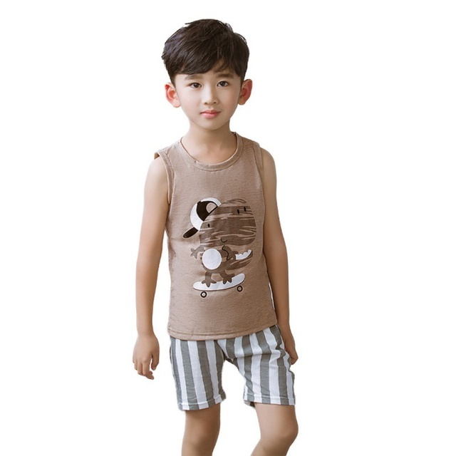 6a4684397 New Cartoon Summer Baby Boy Clothing Set Tank Top + Shorts Kid Boy ...