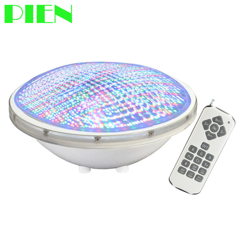 Underwater lights IP68 LED Piscina Par56 Swimming pool light RGB 12V fountain bulb 24W with Wireless 18 Key Remote Free shipping|led piscina|pool light|swimming pool light - title=