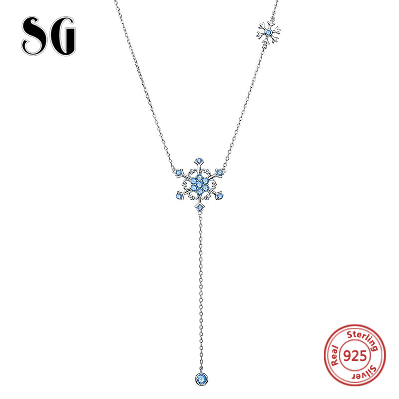 2018 sterling silver 925 beautiful snowflake pendant chain necklace with CZ fashion jewelry making for women gifts free shipping in Chain Necklaces from Jewelry Accessories