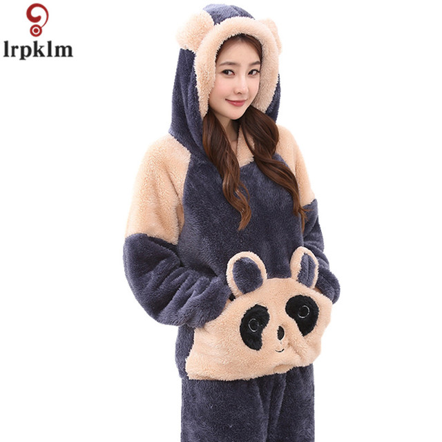 Women s Winter Autumn Pajamas Suits Flannel Thickened Warm Cartoon Clothes  Ladies Night Wear Clothing Plus Size JW276 667388405