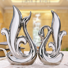 Silver Creative abstract ceramic Swan lovers home decor crafts room decoration porcelain animal figurines wedding decorations