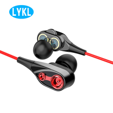 цены LYKL New 3.5mm  In-Ear Double Speaker In-ear Double-coil Earphone Cable With Microphone Gaming Headset For iPhone Android Phone