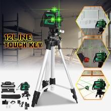 12 линия 3D зеленый свет лазерный уровень самонивелирующийся мера 360 горизонтальный вертикальный крест супер мощный лазерный луч ж/штатив Стенд