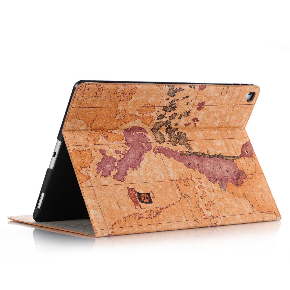 Luxury Retro World Map Card Holder Folio Stand PU Leather Cover Magnet Smart Sleep Case For Apple iPad Pro 12.9 inch 2017 Tablet