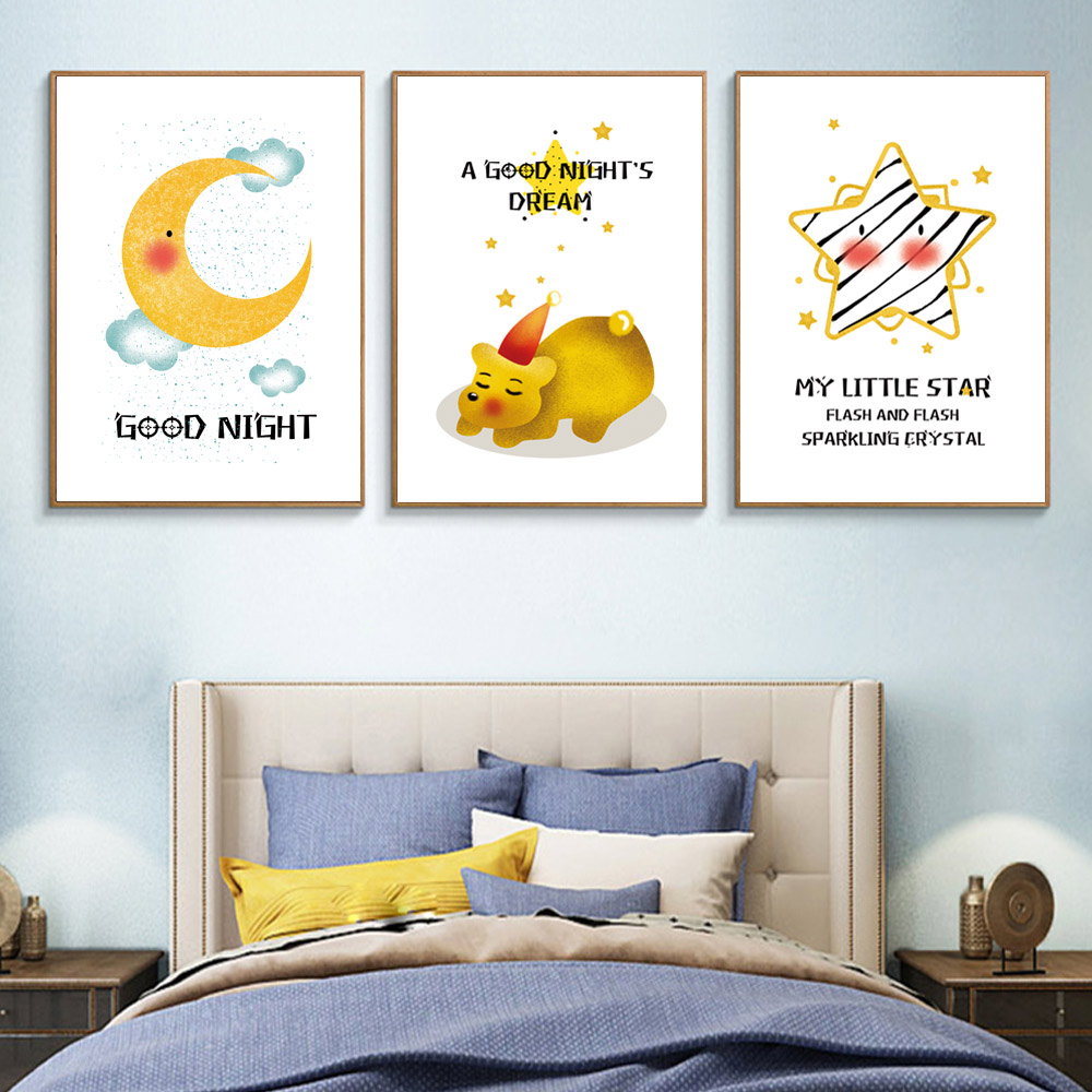 Cartoon Canvas Painting Yellow Poster Kids Room Moon Nordic Nursery Wall Art Pictures Unframed