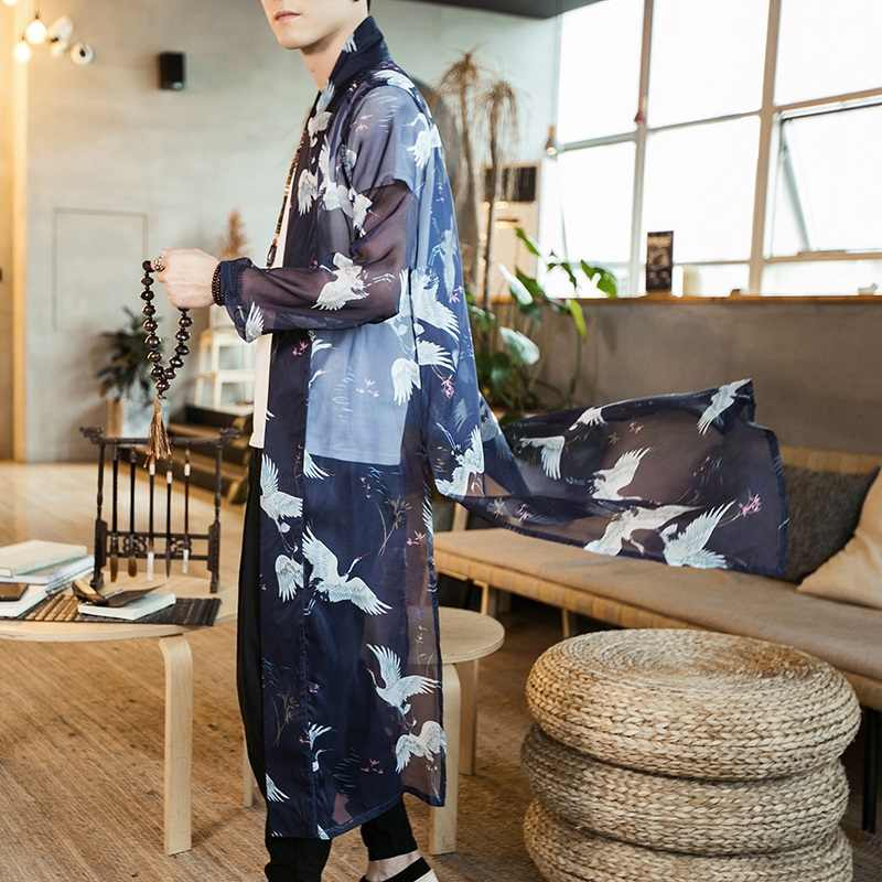 日本の着物男性服羽織浴衣男性日本の着物の伝統的なストリート日本原宿服 DZ2004