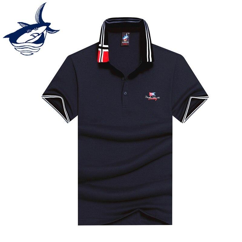 2017 New Arrival Fashion Men Polo Shirt Brand Tace & Shark Men Camisa Masculina Cotton Breathable Yachting Shark Men Polo Shirt