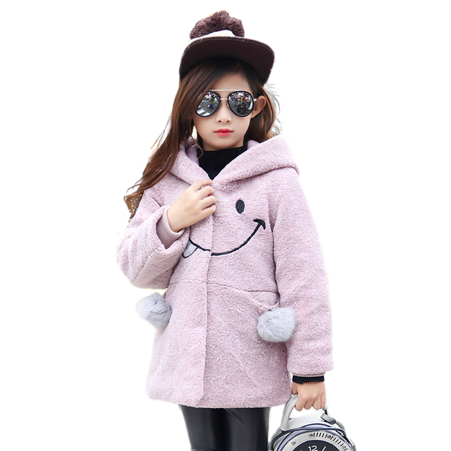 Autumn Winter Girls Smile Face Hood Wool Coats Kids Children Clothing Baby Woolen Overcoat Trench Girls Ackets Capes Blends