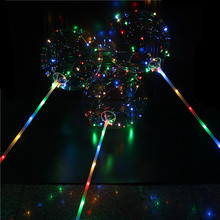 50 sets Luminous Led Balloon Light With Pole Transparent Round Bubble Ballons For Wedding Birthday Party Decoration Suppliers