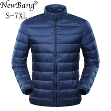 NewBang Plus 6XL 7XL Down Jacket Men #8217 s Large Size Ultra Light Down Jacket Men Duck Down Windbreaker Lightweight Feather Coats cheap REGULAR Z171010YR01 Casual zipper Full Zippers STANDARD Broadcloth NYLON White duck down NONE Polyester 100g-150g Solid