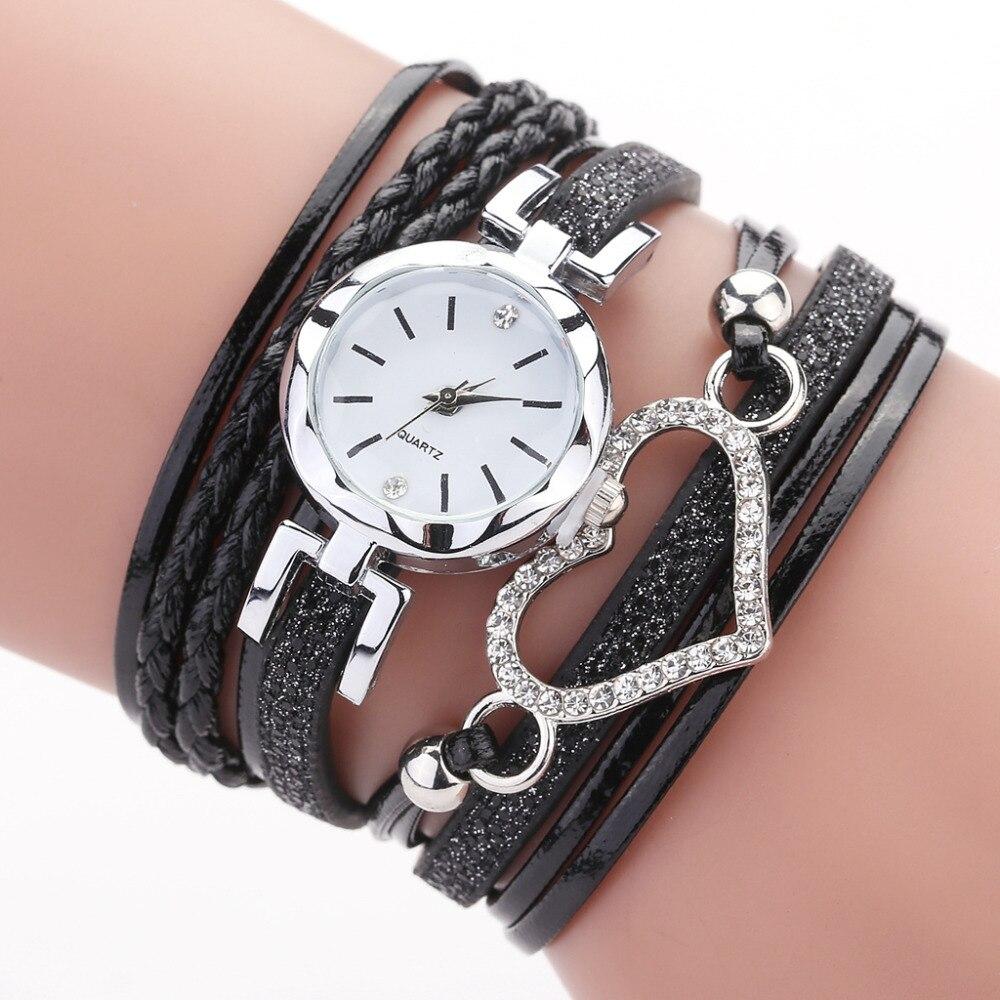 Duoya Brand Ladies Wrist Watch Luxury Braided Leather Belt Heart Quartz Clock Fashion Women's Wristwatch Zegarek Damski Saati