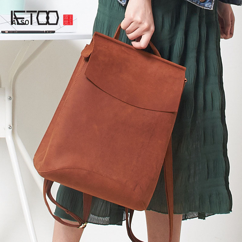 AETOO  New leather fashion casual mad horse skin ladies shoulder bag backpack cowhide shoulder shoulder-in Backpacks from Luggage & Bags    1