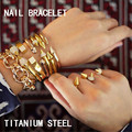 2016 Fashion Jewelry Gold Plated/Silver Plated Punk Bracelet Vintage Double Arrow Tapered Rhinestone Rivets Nail Cuff Bangle