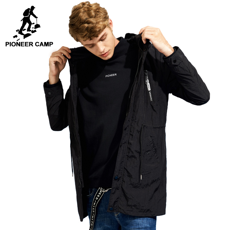 Acampamento pioneiro Novo preto longo casaco homens famosa marca fina primavera 100% casaco de Nylon tretch masculino AJK705297