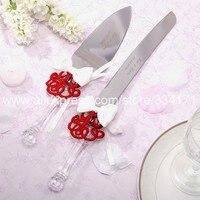 Spersonalizowane Chiński tie Wedding Cake Serving Set wedding nóż do pizzy nóż czerwony i wybierz opcję 1013DS
