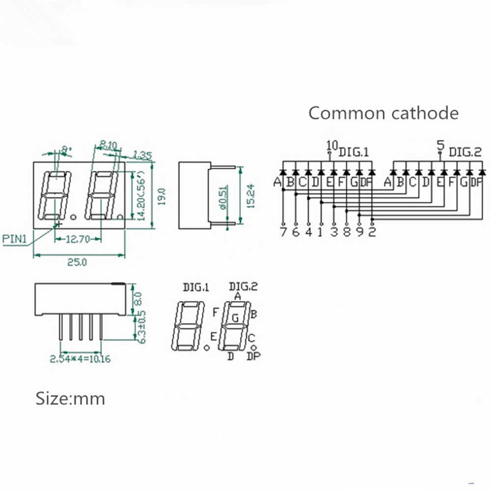 hight resolution of detail feedback questions about 10pcs 0 56inch 7 segment 2bit circuit diagram of parallel led digital tube common anode led