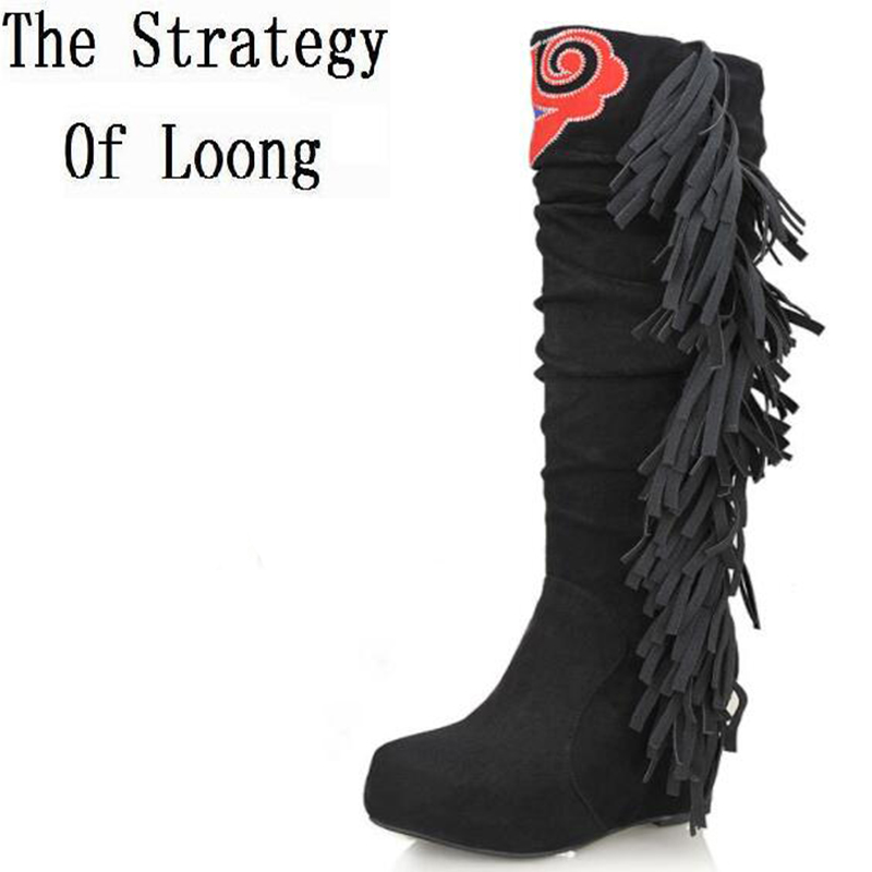 Wedges Elevator Fringe Embroidery Shoes Nubuck Leather Winter Women Knee High Boots Lady Tassel Flock Long Boots 34-40 SXQ0528