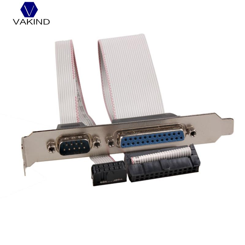 VAKIND For PCI Slot Header Serial DB9 Pin With Parallel DB25 Pin Cable 28.5cm With Bracket For Parallel LPT Printer COM Serial motherboard db25 1 port serial parallel pci slot header cable bracket lpt 25pin